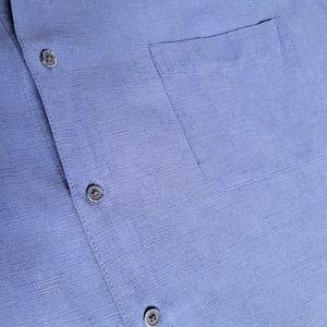 Tasso Elba Silk Linen Button-up Shirt Blue XXL